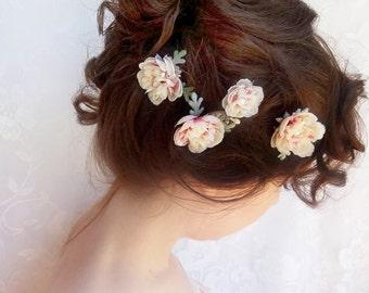 ivory flower hair pins, pink bridal hairpiece, cream wedding hair flower, floral hair pins, bridal hair accessories, bridal hair clip