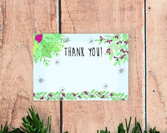 Hand Drawn Christmas Thank You Cards (5 or 10 pack)