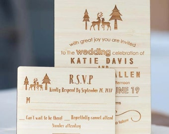 Custom Wedding Invitation ONLY - Laser Cut and Etched on Wood