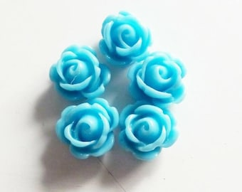 "Set of 5 small roses ""blue"" 10mm"