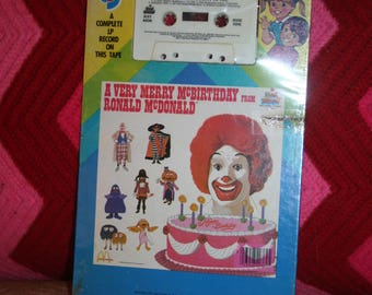 "Classic 1983 McDonald's ""A Very Merry McBirthday from Ronald McDonald"" Cassette!  On Original Card / Sealed!  Kid Stuff Records and Tapes"