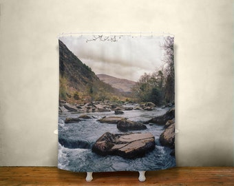 Nature Shower Curtain, Forest River Decor, Rocky River, Woodland Bathroom, Wales Decor, Scenic Mountain, Rustic Decor