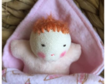 redhead baby, Waldorf dolls, small doll, bunting doll swaddle baby, gift for girl