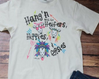 Cow shirt,Heifers shirt,Hippie Shirt ,Gypsy Shirt, Ladies, Women,S-3X