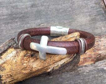Mens Licorice Leather Cross Bracelet, Leather Men's Bracelet, Christian Bracelet, Soft Brown Leather Bracelet, Faith Bracelet
