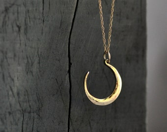 golden crescent moon, 14k gold moon necklace, hand wrought moon phase pendant with 14k gold chain, lunar pendant, eco friendly