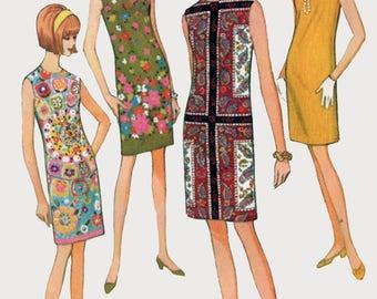 Vintage 1960s MOD Sheath Dress Sleeveless Shift Wiggle Dress Sewing Pattern McCalls 8720 Size 11 Bust 31.5