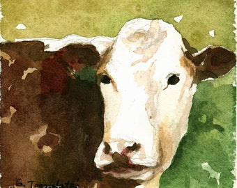 Cow PRINT cow painting cow watercolor PRINT brown cow white faced cow art cow picture cow decor