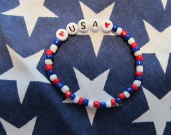 USA Bracelet-Birthday Gift- Beaded Bracelet- Girls Bracelet- Kids Bracelet- Gifts for Her- Gifts for Girls- Patriotic Bracelet