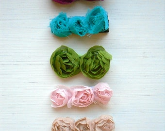 Couture Hair Clips - Alligator Style - You Choose THREE - Rosettes Flowers - Newborn Infant Baby Girls Adults