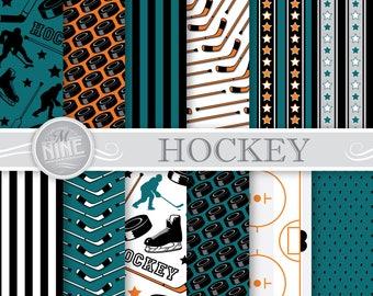 HOCKEY Digital Paper / Hockey Party Printables / Teal and Orange Hockey Patterns, Sports Theme Party, Hockey Downloads, DIY Hockey Party