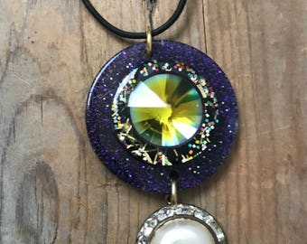 Glittery Necklace Fun Jewelry Upcycled Gifts For Her Gifts Under 30 Colorful Funky Statement Necklace Holiday Eclectic Arty