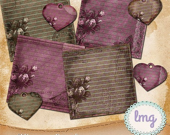 Vintage Rose Digital Junk Journal Papers with Heart Tag Embellishments, Shabby Chic, Travelers Junk Journal, Instant Download, CU