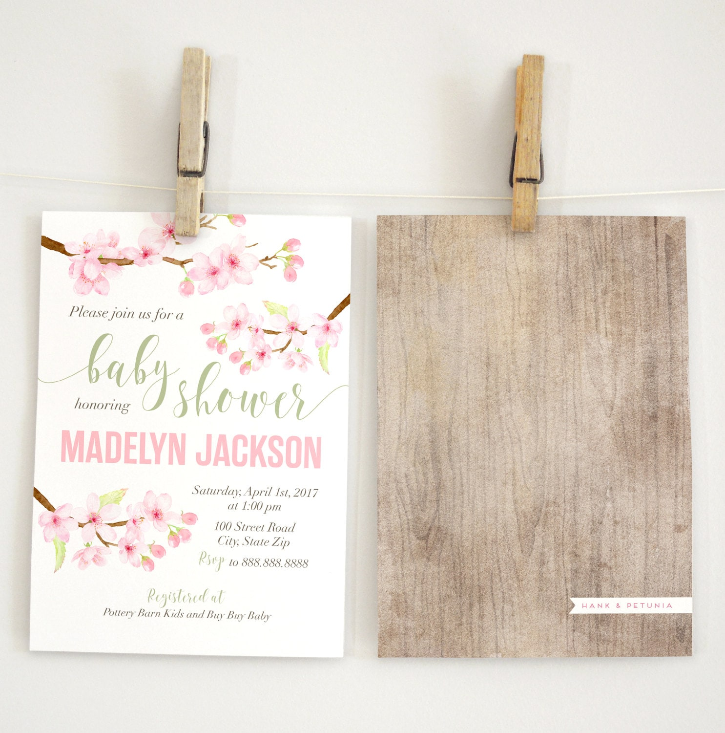 Cherry Blossom Baby Shower Invitation, Watercolor Floral Baby Shower ...