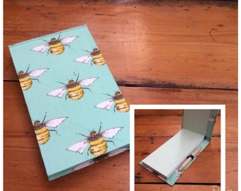 Jotter Notebook with Pencil/handmade/Bee Fabric/Shopping List pad/pocket book