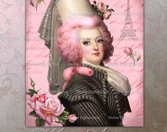 Marie Antoinette with Pink Roses Digital Image Instant Download