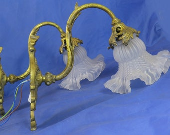 Pair of gilt swan neck wall lights c1910