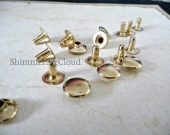 Snap rivets, 10 mm, snap grommets, Brass Rivets, raw brass, metal jewelry findings, brass jewelry, grommets, unusual, rare, gold tone