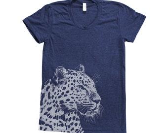 LEOPARD Shirt Women Custom Hand Screen Print Tri-Blend Short Sleeve Tshirt Available: S, M, L, XL