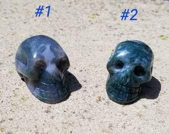 Moss Agate Skull #1-2