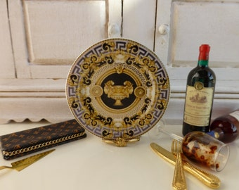 Versace Gala Dollhouse Miniature Plate in 1:12 Scale.
