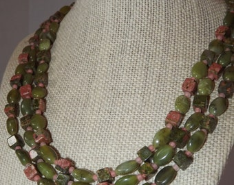 Jade and Unakite Necklace