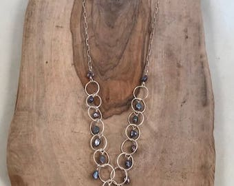 Onyx drop with pearls cascading down sterling silver necklace