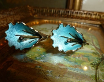 Lovely Vintage Turquoise Blue Guilloche And Sterling 925 Flower Screw Back Earrings Made In Norway 1940's-1950's