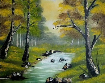 beautiful painting by a stream in the forest, cute colors original, ready to hang.