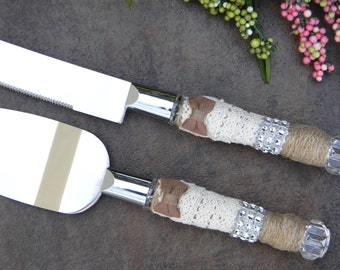 Rustic Wedding Cake Servers and Knives, Burlap and Lace Wedding Cake Knife Set, Barn Wedding Cake Serving Set, Country Cake Knife and Server