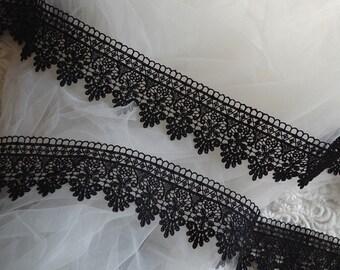 Black Lace Trim, black venise lace trim, crochet trim lace