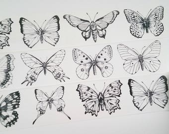 Design Washi tape Butterflies black and White II