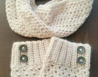 Crochet Cream Cowl and Boot Cuff Set