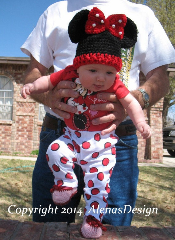 Crochet Pattern 098 - Crochet Hat Pattern - Hat Crochet Pattern for Baby Minnie Mouse Hat Mickey Mouse Hat Crochet Bow Baby Photo Prop