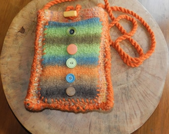 Hand Knit Copper Blue Green Orange Felt Shoulder Bag - Colorful Copper