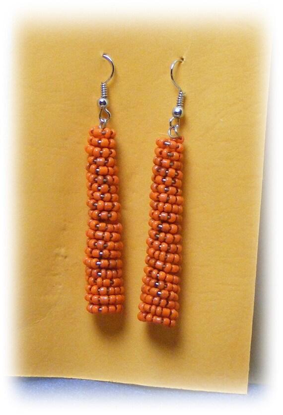 TINY ORANGE BEADS Dangle Earrings (pierced)