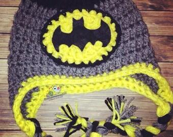 Inspired Batman Hat- Crochet hat- TODDLER BOY- Gotham- Sizes- Preemie-4t