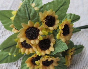2 Bouquets Fabric Millinery Flowers From Austria 24 Small Yellow Sunflowers With Leaves #A42