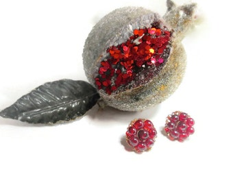 Vintage Red Cluster Earrings Bohemian Red Glass 1930s