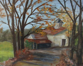 Autumn Scene Painting 14 x 18 Canvas Painted Art Acrylic Painting House at the End of the Road