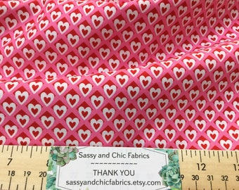 Heart O'Mine Valentine's Day Fabric with  Red Hearts ~ Michael Miller Fabrics, Quilting Cotton Fabric