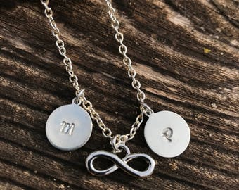 Personalized Infinity necklace Initial Infinity necklace Personalized gifts Silver Infinity necklace with initials Gift for Her