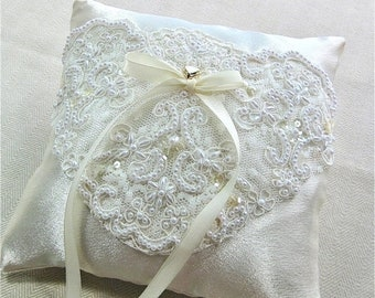 CLOSEOUT SALE Creamy Ivory Satin Ring Bearer Pillow with Alencon Lace embroidered with Pearls