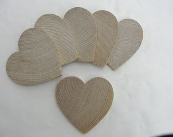 """6 Wooden hearts 3 inch (3"""") wide 1/4"""" thick wooden hearts unfinished wood hearts diy"""