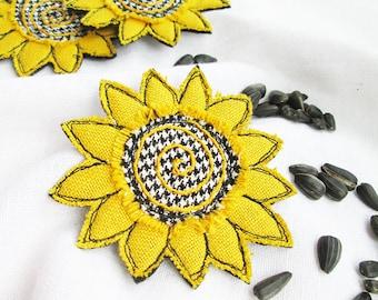 Yellow sunflower fabric brooch Sunflower textile pin Single flower hand made jewelry Fiber art brooch Summer brooch Summer party outdoors