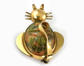 Vintage Gold Filled and Scrab 1960's Cat brooch or Pin by WRF