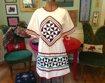 1960s Top / Ethnic Tunic / Ethnic Blouse / Vintage Blouse / Hippie Blouse / Boho