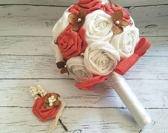 Bridesmaid bouquet, Burlap bouquet, Bridal Bouquet