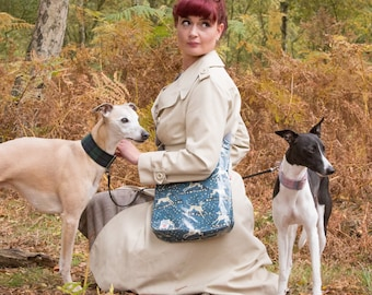 Whippet Oilcloth Cross-Body Bag / Messenger Bag / Vegan Bags / designed by Susie Faulks / made in England / Whippet/ Greyhound/ Hounds / dog