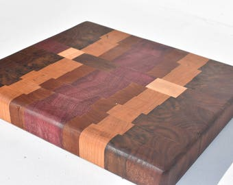 End Grain Cutting Board made with purple heart walnut and maple Small cutting board Purple Heart Cutting board Walnut Cutting Board